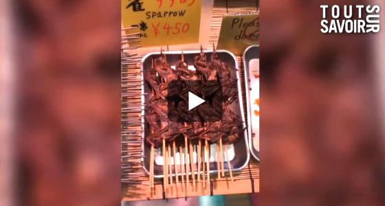 Des moineaux en brochettes… et pleins d'autres surprises culinaires dans cette vidéo.