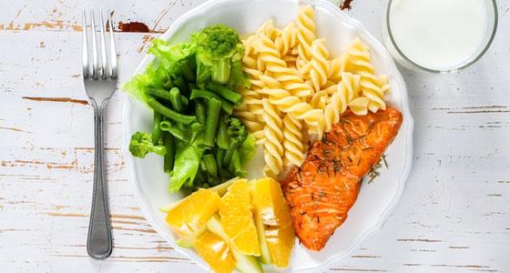 Votre repas complet : légumes, protéines, féculents, fruits, produit laitier...